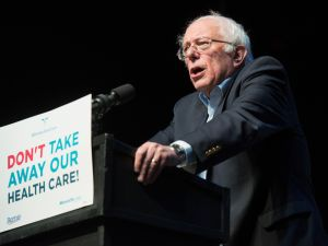 Sen. Bernie Sanders speaks during a Stop Trumpcare emergency rally with MoveOn.org at Express Live on June 25, 2017 in Columbus, Ohio.