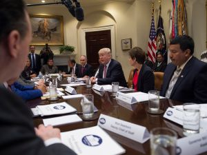 President Donald Trump leads a tribal, State, and local energy roundtable in the Roosevelt Room along with EPA Administrator Scott Pruitt
