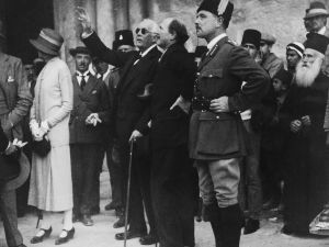 British politician Lord Arthur Balfour (1848 - 1930) points out a feature of the Church of the Holy Sepulchre to Governor Sir Ronald Storrs during a visit to Jerusalem, 9th April 1925. The city's Arab residents were on strike as a protest against the Balfour Declaration supporting plans for a Jewish homeland in Palestine. (Photo by )