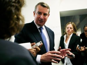 Ed Gillespie with reporters.