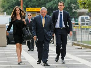 Sen. Bob Menendez, his son Robert Jr. (right) and daughter Alicia Menendez (left).