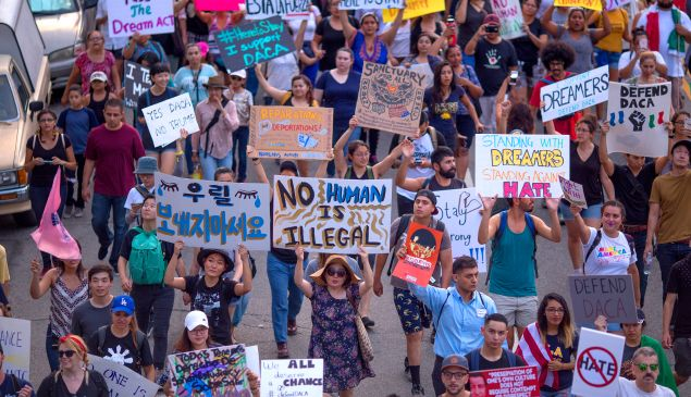 Thousands of immigrants and supporters join the Defend DACA March to oppose the President Trump's order to end DACA on September 10, 2017 in Los Angeles, California.
