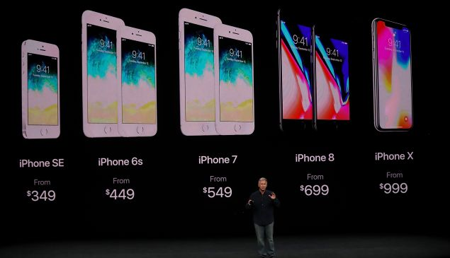 Apple senior vice president of worldwide marketing Phil Schiller introduces the new iPhone X.