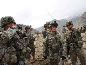 Members of the U.S. Army 1-6 Field Artillery division conduct a joint military exercise with the Afghan National Army in Nuristan Province, Afghanistan.