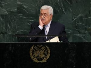 Mahmoud Abbas, President of the State of Palestine, addresses the United Nations General Assembly at UN headquarters, September 20, 2017 in New York City.
