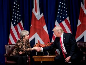 British Prime Minister Theresa May and U.S. President Donald Trump.