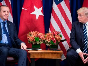 Turkey's President Recep Tayyip Erdogan and U.S. President Donald Trump wait for a meeting at the Palace Hotel during the 72nd United Nations General Assembly on September 21, 2017 in New York City.