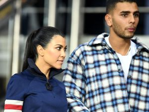 Kourtney Kardashian and Younes Bendjima arrive for the UEFA Champions League football match between Paris Saint-Germain and Bayern Munich on September 27, 2017 at the Parc des Princes stadium in Paris.