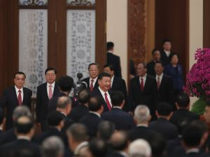 Chinese President Xi Jinping, Premier Li Keqiang and National People's Congress Chairman Zhang Dejiang attend a reception marking the 64th anniversary of the founding of the People's Republic of China on September 30, 2017 in Beijing, China.