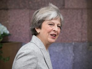 Britain's Prime Minister, Theresa May, on the first day of the annual Conservative Party conference on October 1, 2017 in Manchester, England.