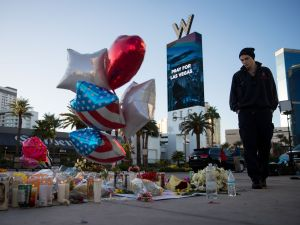 A makeshift memorial for the victims of the Las Vegas shooting.