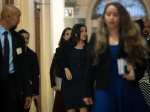 Sheryl Sandberg, chief operating officer of Facebook, walks to a meeting at the U.S. Capitol.