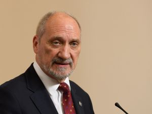 Poland's Defense Minister Antoni Macierewicz speaks during a joint UK/Poland press conference in London on October 12, 2017.