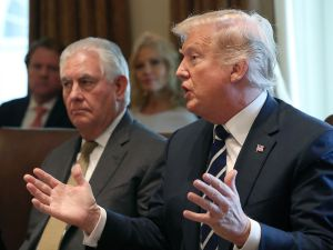 President Donald Trump and Secretary of State Rex Tillerson on October 16, 2017.