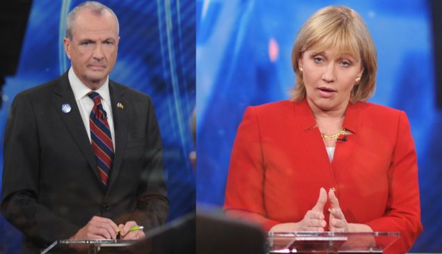 Phil Murphy and Kim Guadagno during the primary debates.