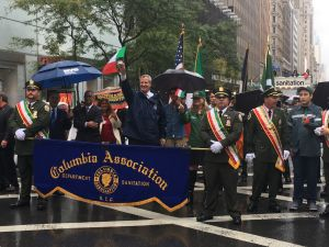 Mayor Bill de Blasio marches during the Columbus Day Parade.