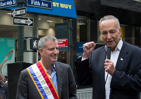 Chuck Schumer Endorses Bill de Blasio for Second Term