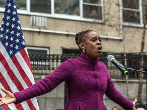 First Chirlane McCray speaks onstage at the Women's March in New York City in January.