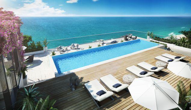 There's a private 40-foot pool on the terrace.