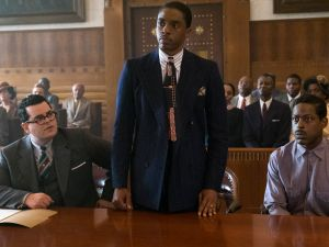 Josh Gad, Chadwick Boseman and Sterling K. Brown in Marshall.