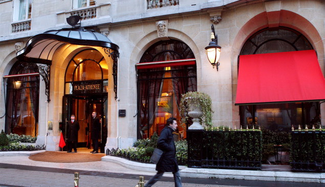 The facade of the luxury hotel Le Plaza Athenee.