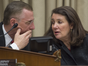 Congressman Tim Murphy (L), R-Pennsylvania, talks with Ranking Member Congresswoman Diana DeGette, D-Colorado