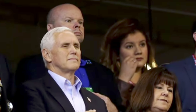 Vice President Mike Pence at the Colts game, shortly before he walked out.