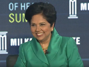 Indra Nooyi, CEO of PepsiCo, talks at Milken Institute's Future of Health Summit.