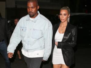Kim Kardashian and Kanye West on their way to dinner.