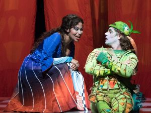Pamina (Golda Schultz) and Papageno (Markus Werba) want to know what love is, in the Met's 'Zauberflöte'.