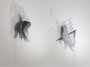 Installation view of Afruz Amighi, Echos Chamber, at Sophia Contemporary.