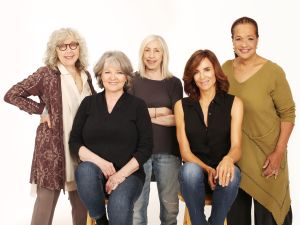 Left to right, Kathryn Grody, Ellen Parker, Playwright Susan Miller, Polly Draper and Franchelle Stewart Dorn.