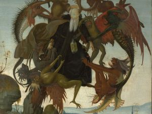 Michelangelo Buonarroti, The Torment of Saint Anthony, ca. 1487–88. Tempera and oil on wood 18 1/2 x 13 3/4 in.