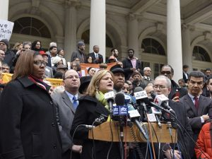 City Council Speaker Melissa Mark-Viverito and other Council members at an interfaith rally.
