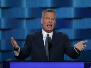 Mayor Bill De Blasio delivers remarks on the third day of the Democratic National Convention in Philadelphia, Pennsylvania in July 2016.
