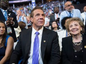 Gov. Andrew Cuomo sits with his mother, Matilda, and daughter Cara, on the floor of the Wells Fargo Center in Philadelphia, Pa., on the final night of the Democratic National Convention.