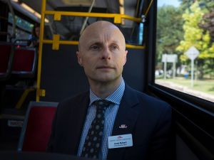 Toronto Transit Commission CEO Andy Byford on board a TTC bus heading to Wellesley Station in Toronto.
