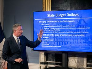 Mayor Bill de Blasio presents the Fiscal Year 2018 Preliminary Budget at City Hall.