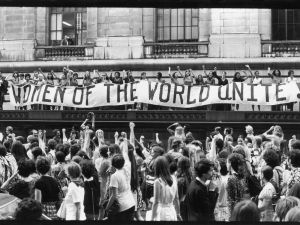 To commemorate the 50th anniversary of Women's Suffrage in the United States, record numbers of women march along 5th Avenue in New York City on August 26, 1970.