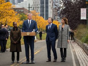 First Lady Chirlane McCray, Mayor Bill de Blasio, Argentinian President Mauricio Macri and First Lady of Argentina Juliana Awada honor the victims of a terrorist attack in Tribeca last week.