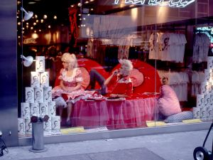 April Palmieri, Valentine's Day Repose, 1982. Pictured: Katy K and John Sex in the window of Fiorucci.