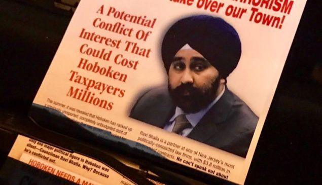 A flier tied Hoboken Mayoral candidate Ravi Bhalla to terrorism.