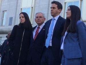 From left, Alicia Menendez, Bob Menendez, Robert Menendez Jr. and attorney Jenny Kramer.