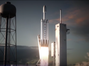 A rendering of the Falcon Heavy.
