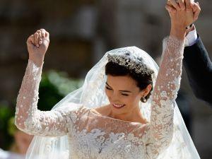 Princess Claire celebrating her wedding.