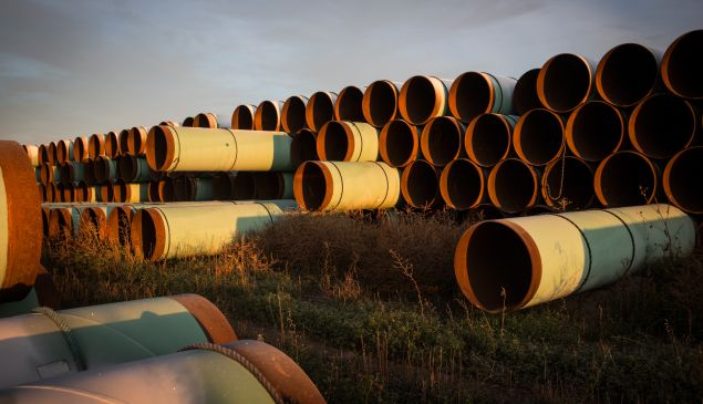 Miles of unused pipe, prepared for the Keystone XL pipeline.