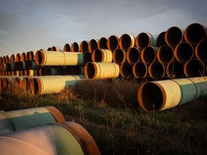 Miles of unused pipe, prepared for the Keystone XL pipeline.