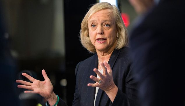 Meg Whitman gives an interview on the floor of the New York Stock Exchange.