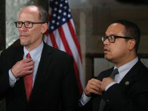 DNC Chair, Tom Perez (L) and Deputy Chair and Rep. Keith Ellison (D-MN).