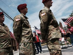 "Veterans take part in a ""Tribute To Heroes"" ceremony in Morgantown, West Virginia."
